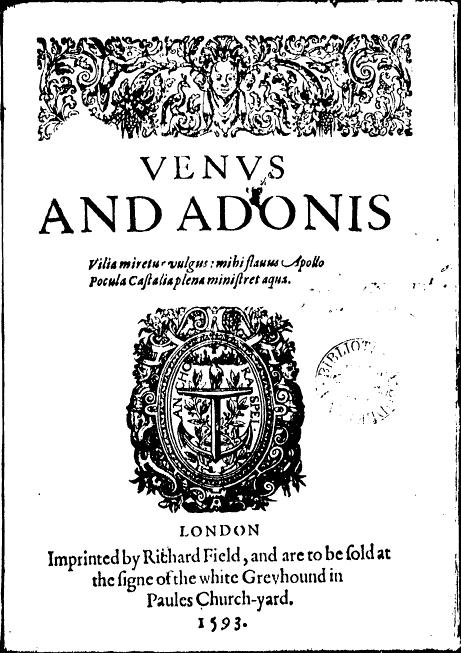 Resultado de imagem para venus and adonis shakespeare cover