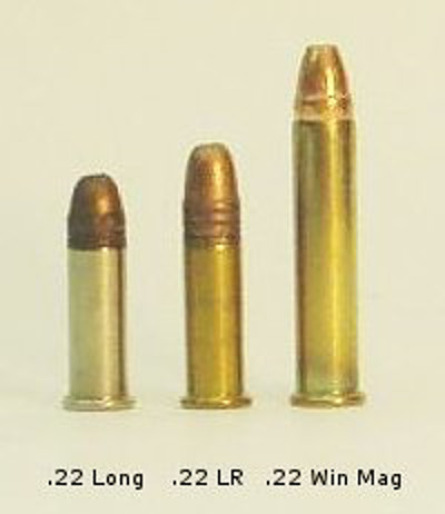 22 long left 22 long rifle middle 22 winchester magnum