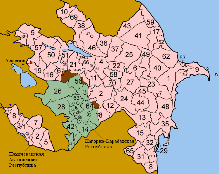 Azerbejdzan Azerbaijan_districts_numbered_rus