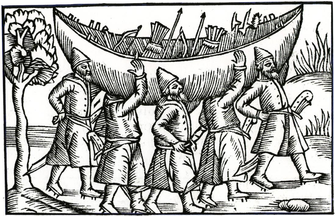 Français : Vikings transportant leur bateau.