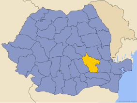 Administrative map of Руминия with Бузау county highlighted