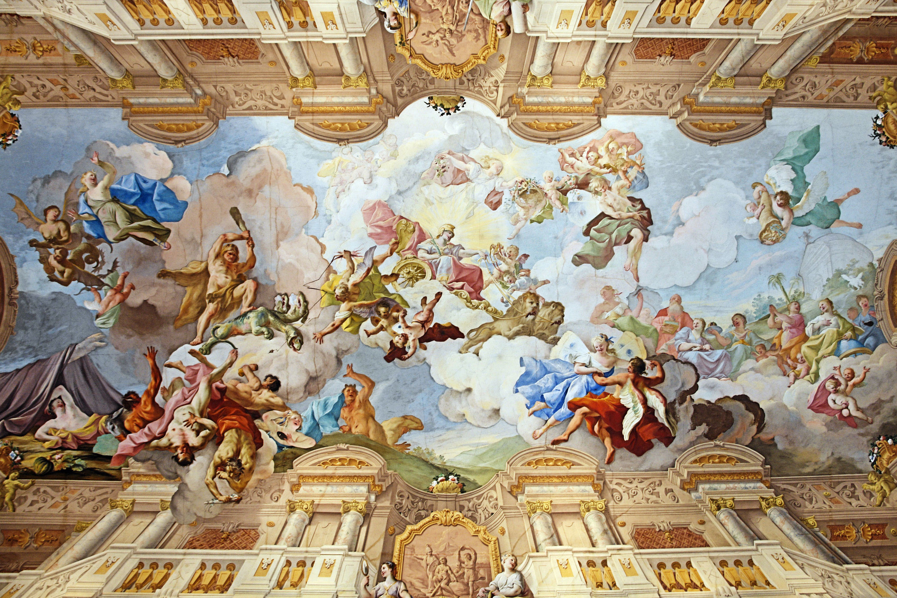 File ceiling painting of the marble hall melk abbey for A mural is painted on a