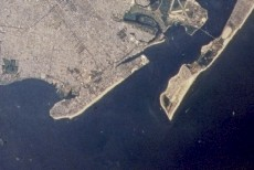 Image of Coney Island, located in the middle left of the picture, taken by NASA. The peninsula to the right is Rockaway, Queens.