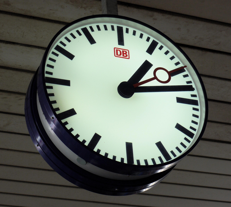 File:DB station clock, Basel Badischer Bahnhof.jpg