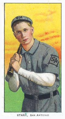 "A baseball card of a man in a gray baseball uniform with ""SA"" on the left sleeve and center of cap holding a bat as if ready to swing."