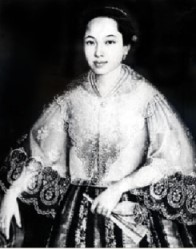 Monochrome reproduction of portrait of a Filipino woman in a lacy top, holding a fan