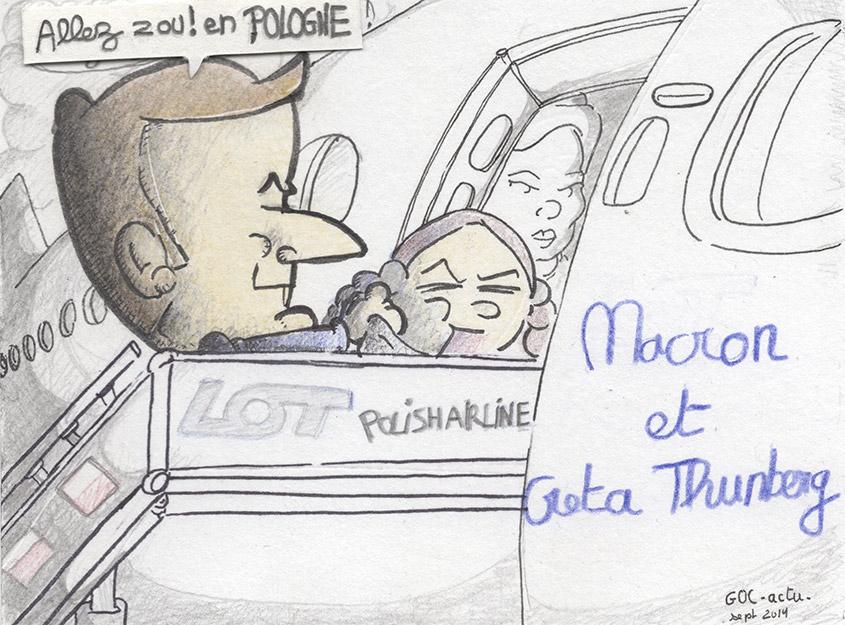 Emmanuel Macron et Greta Thunberg - direction la Pologne.jpg