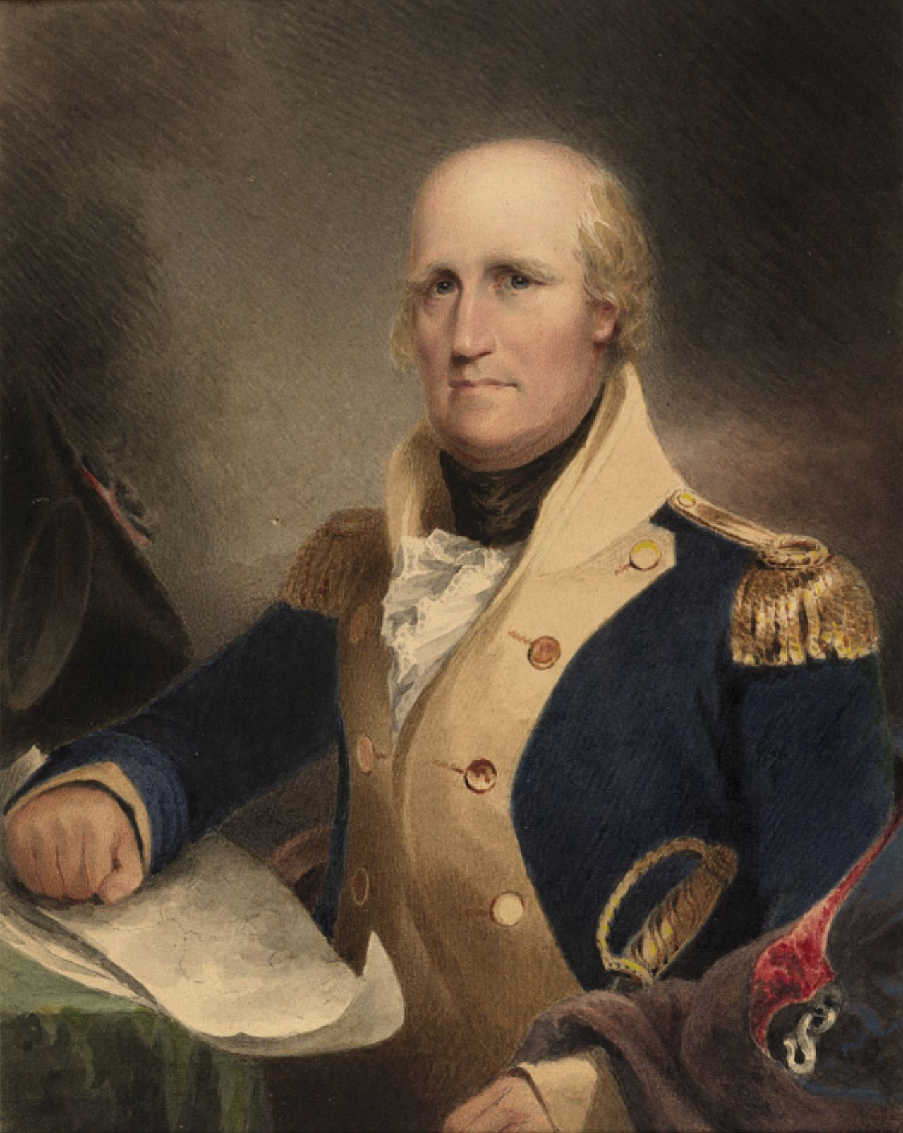 A bald man with rosy cheeks wearing a high-collared jacket