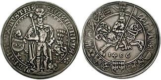 Tiroler Guldiner von 1486 aus der Münze in Hall in Tirol. Guildiner 661828