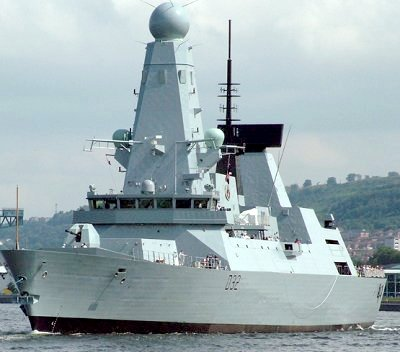 A Royal Navy Type 45 destroyer is a highly advanced anti-air ship HMSDaring.jpg