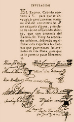 Paper detailing an invitation to the open cabildo