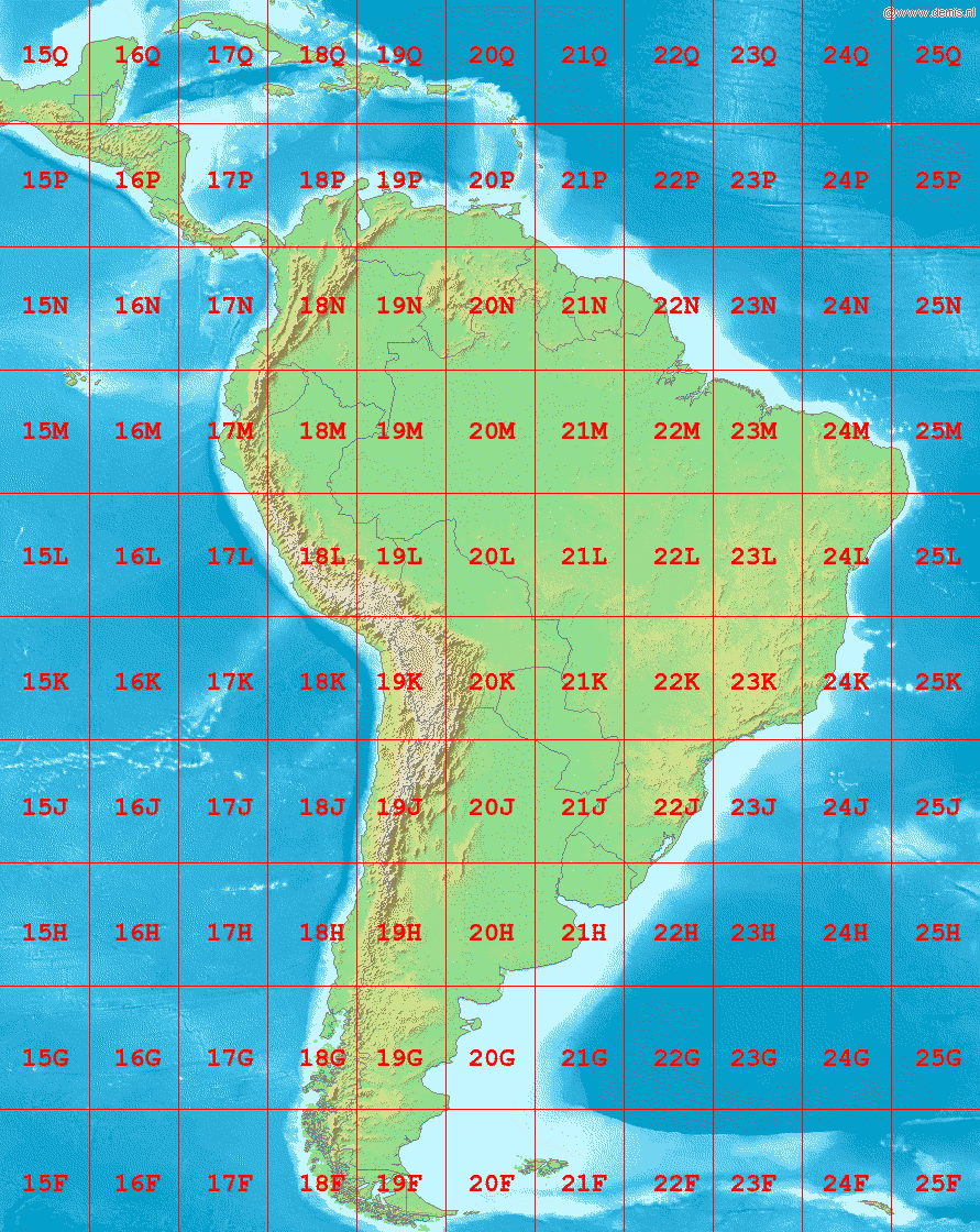 south america map with longitude and latitude lines File La2 South America Utm Zones Png Wikimedia Commons