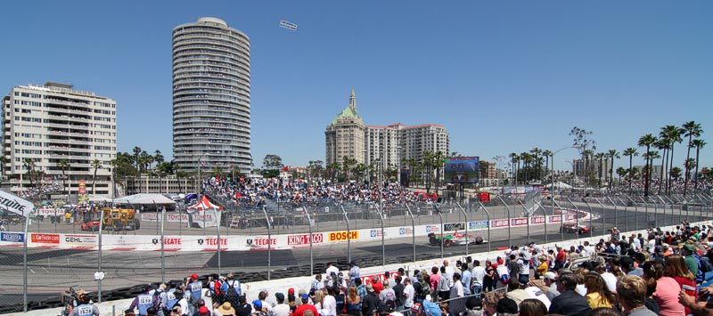 2005 Long Beach Grand Prix, showing turn 10 and the Long Beach skyline
