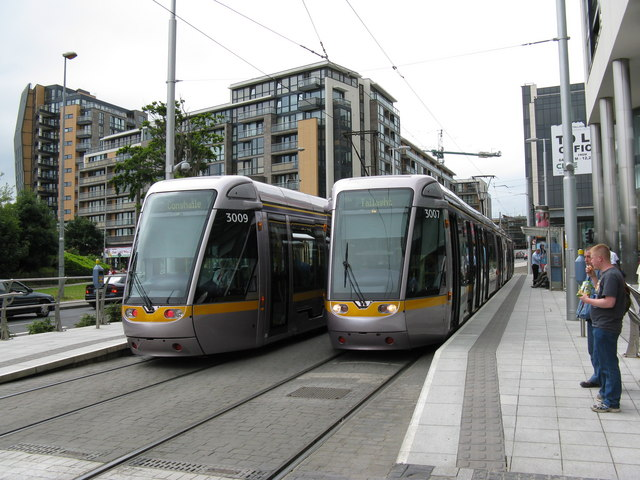 LUAS trams at Tallacht terminus. - geograph.org.uk - 1387090.jpg