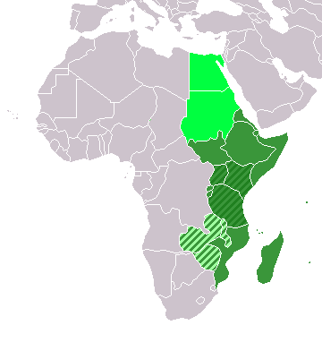 Map of Africa with eastern countries highlighted