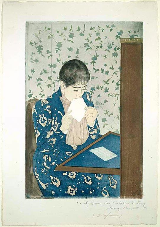Mary_Cassatt_-_The_Letter - Aquatinta, Farbradierung