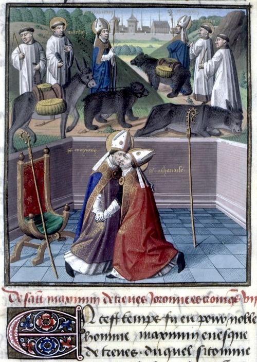 Den hellige Maximin av Trier (t.v.) mottar den forviste Athanasius (t.h.). I bakgrunnen fremstilling av bjørnelegenden fra hans Vita. Bokmaleri fra 1463