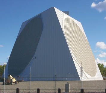 Phased array: Not all radar antennas must rotate to scan the sky. PAVE PAWS Radar Clear AFS Alaska.jpg