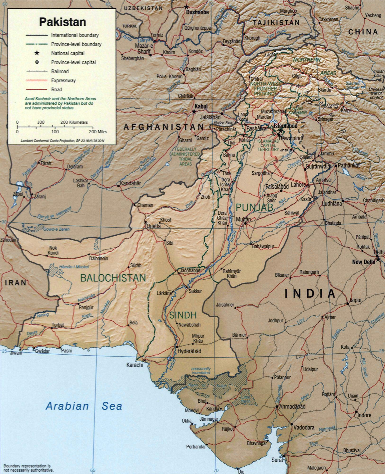 Pakistan 2002 CIA mapjpg Atlas of Pakistan