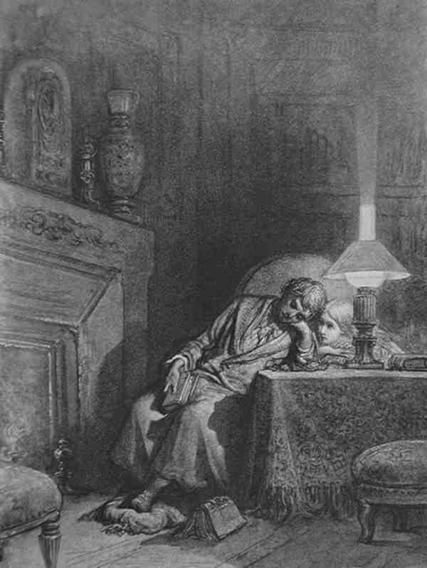 Ilustración para el poema El cuervo, de Gustave Doré. Imagen de Wikimedia Commons.