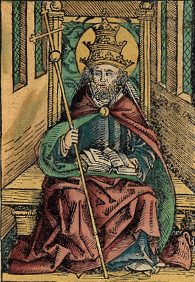 Saint Peter portrayed as a Pope in the Nuremberg Chronicle Peter as Pope .png