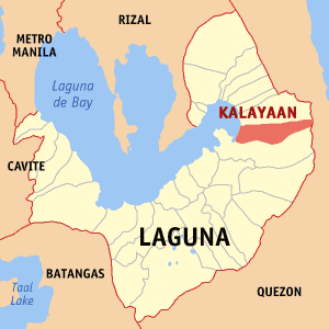 Map of Laguna showing the location of Kalayaan