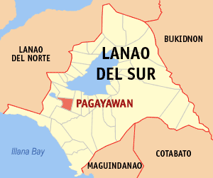 Map of Lanao del Sur showing the location of Pagayawan