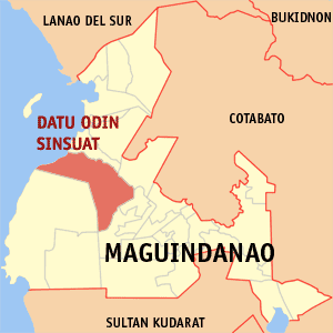Map of Maguindanao showing the location of Datu Odin Sinsuat