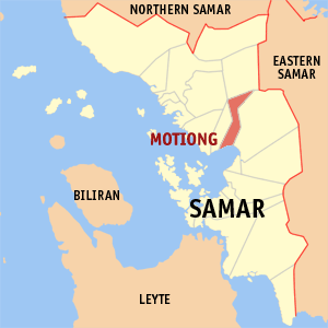 Map of Samar showing the location of Motiong