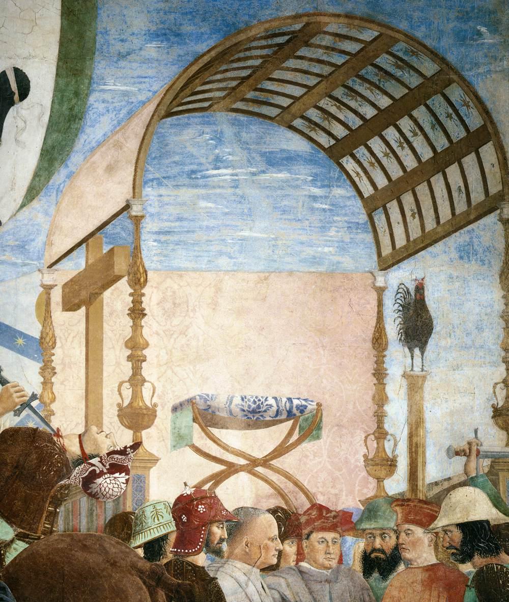 Piero della Francesca, Le Storie della Vera Croce, Battaglia di Eraclio e Cosroè, (nel gruppo intorno a Cosroè si ravvisano i ritratti di famiglia dei Bacci, committenti del ciclo)