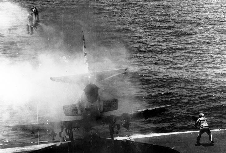 Pilot ejects from a Douglas A-4E Skyhawk of VA-152 aboard USS Shangri-La (CVS-38), 2 July 1970 (NH 90350)