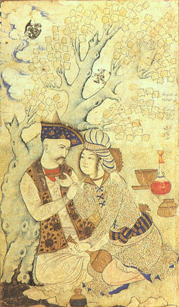 Shah Abbas of Iran with a page (1627). Shah Abbas and Wine Boy.jpg