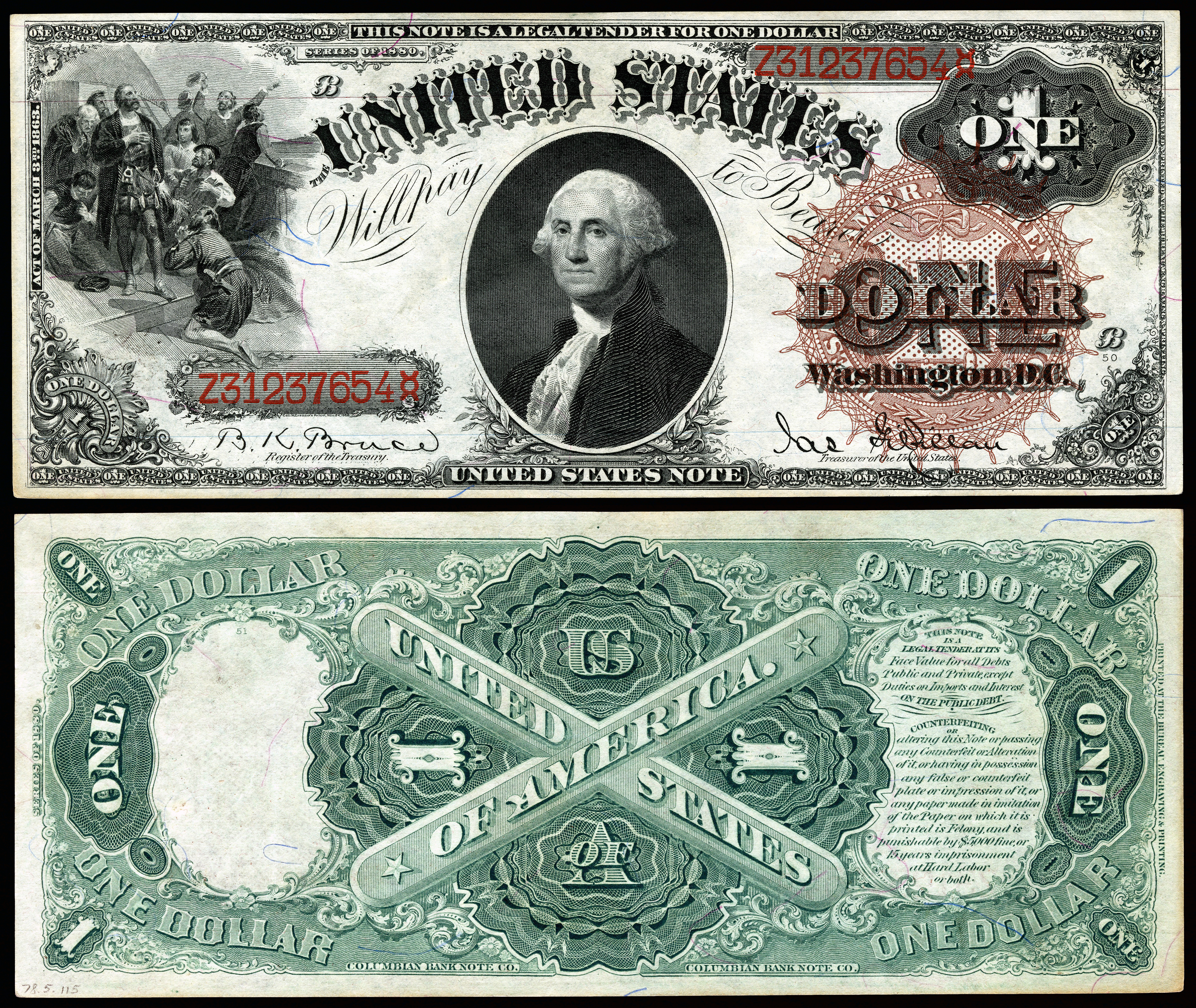 United states one dollar bill wikipedia series 1880 1 legal tender series of 1886 1 silver certificate xflitez Images
