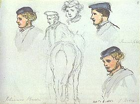 Several sketches of a person's head, some in color.