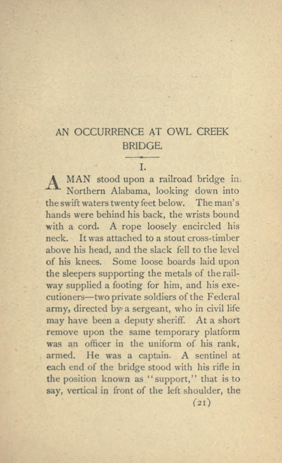 an occurrence at owl creek bridge research paper An occurrence at owl creek bridge questions and you that can answer any question you might have on an occurrence at owl creek bridge research paper topics.