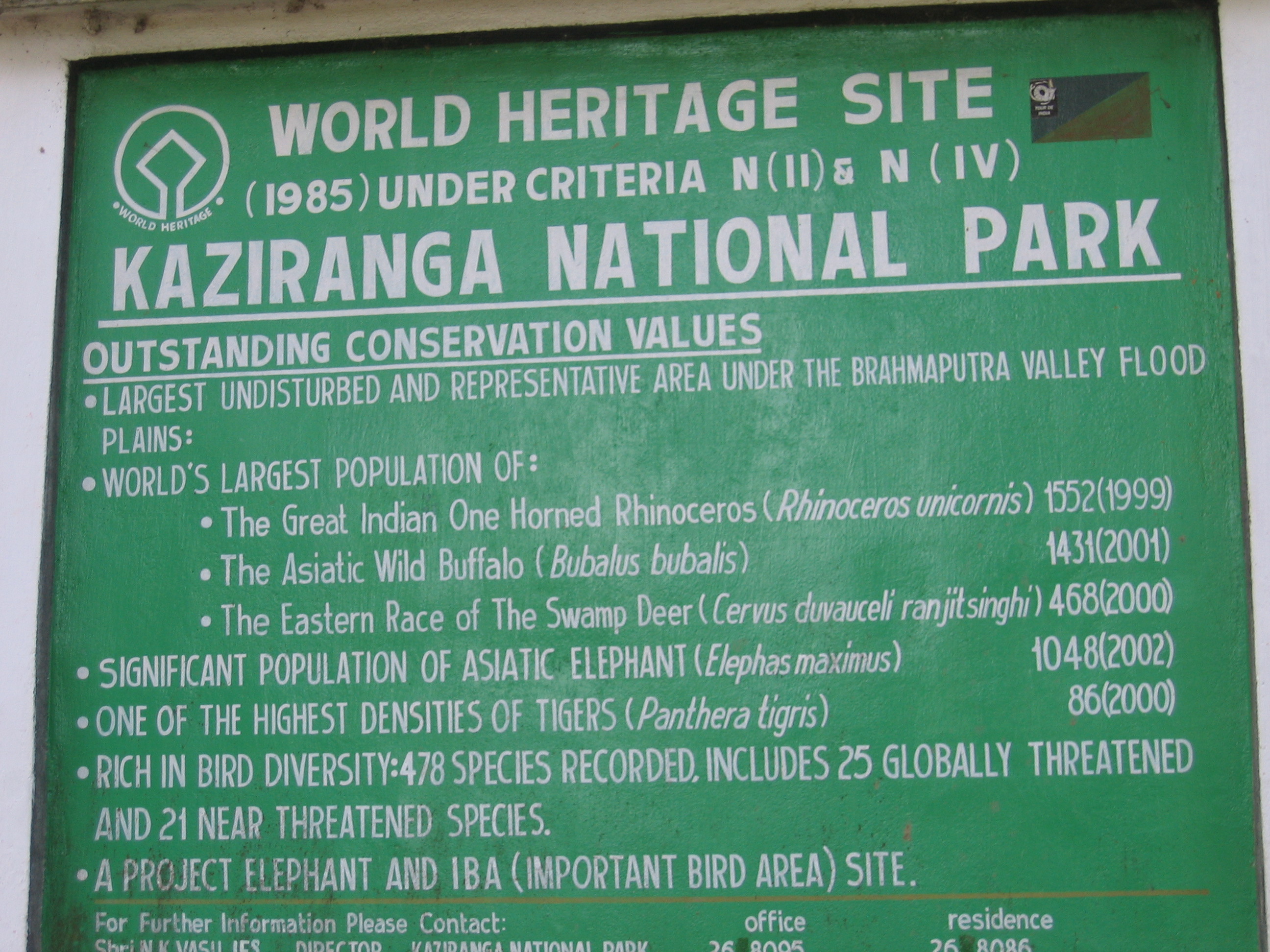A board proclaiming the biological heritage of Kaziranga National Park