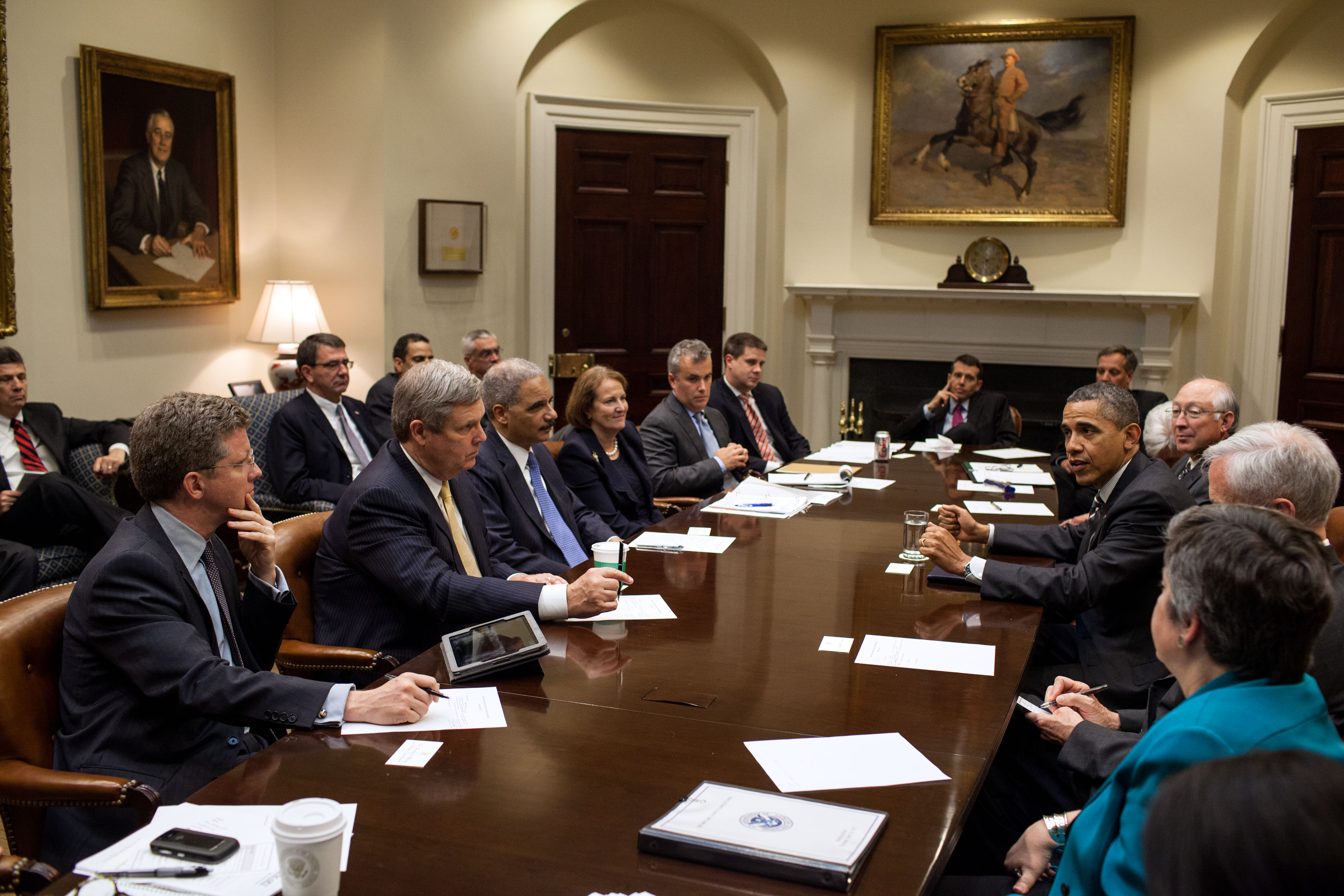 File:Barack Obama drops by a meeting with Cabinet members, 2012 ...
