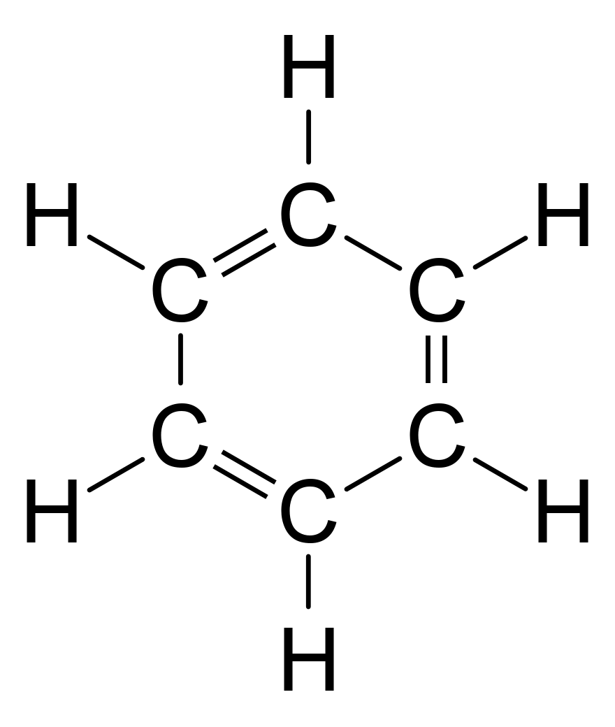Benzene with alternating double bonds