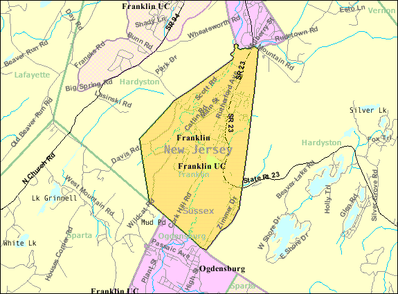 Census Bureau map of Franklin, New Jersey