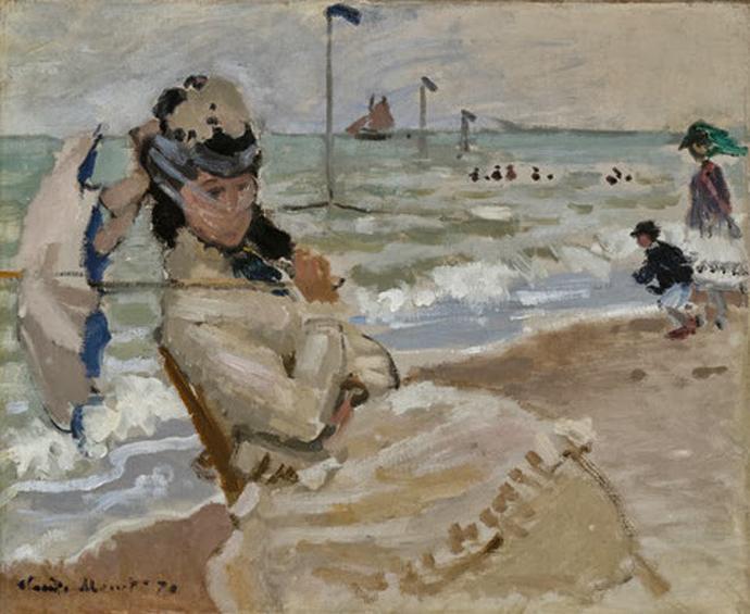 File claude monet camille en la playa de for Jardin secret des hansen