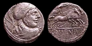 Denarius, issued 88 BCE, depicting the helmeted head of Mars, with Victory driving a two-horse chariot (biga) on the reverse Cornelia50.jpg