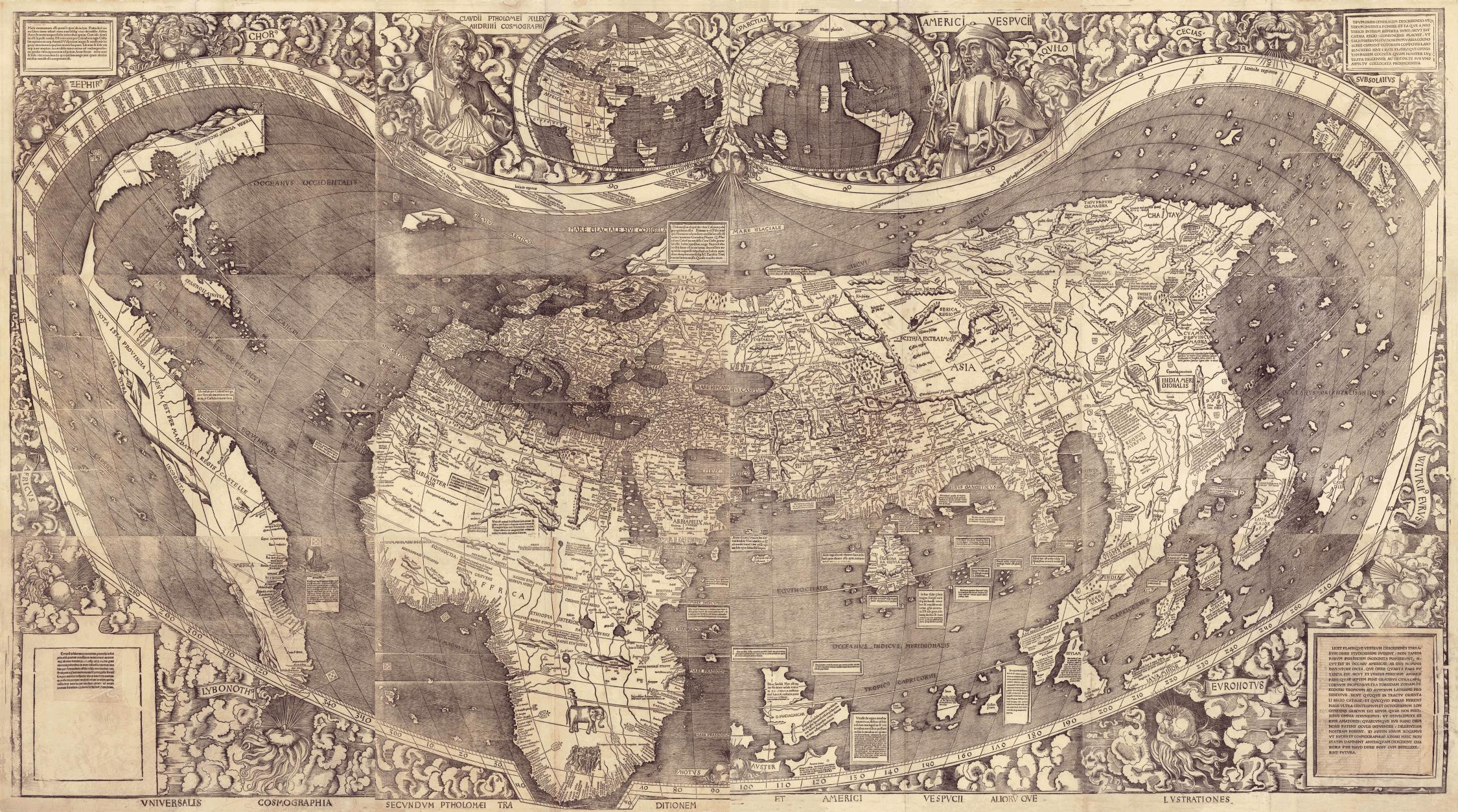 Weltkarte von Waldseemüller, 1507, Einzelstücke montiert