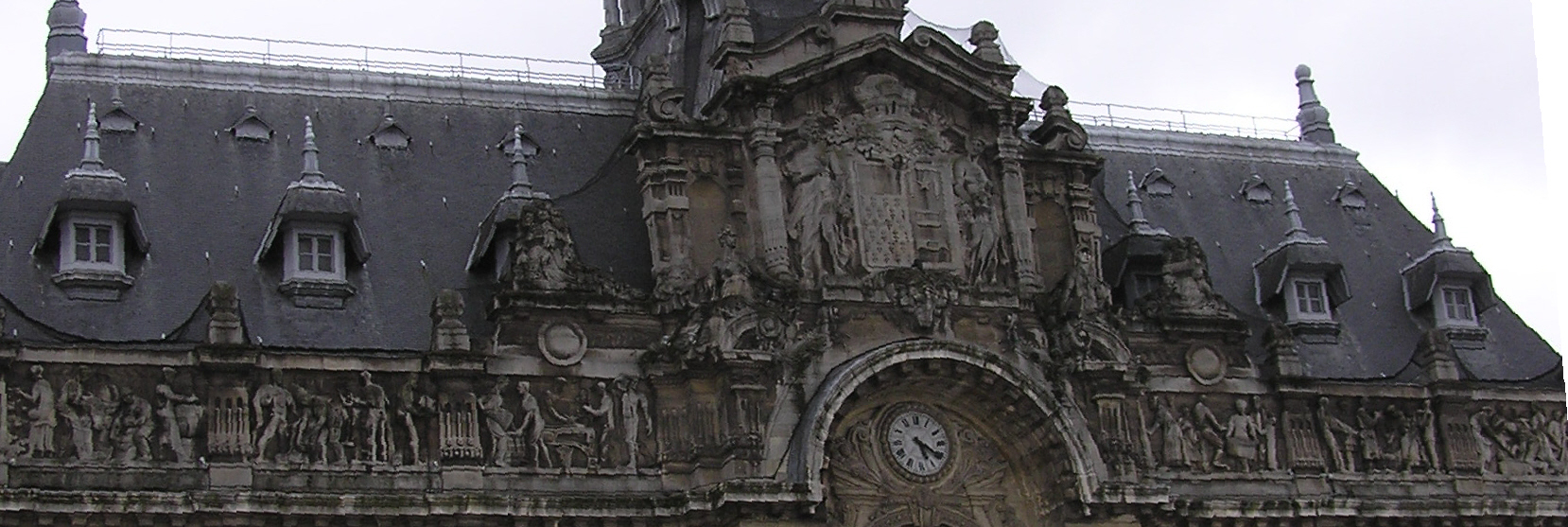 Detail of the city hall's front in Roubaix, France