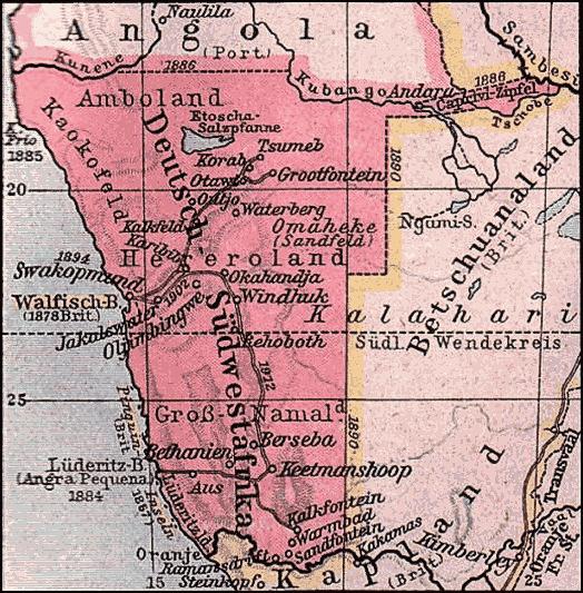 Karte von Deutsch-Südwestafrika (später Namibia) 1904. (Quelle: Bries via Wikimedia Commons unter Lizenz CC-BY-SA 3.0)