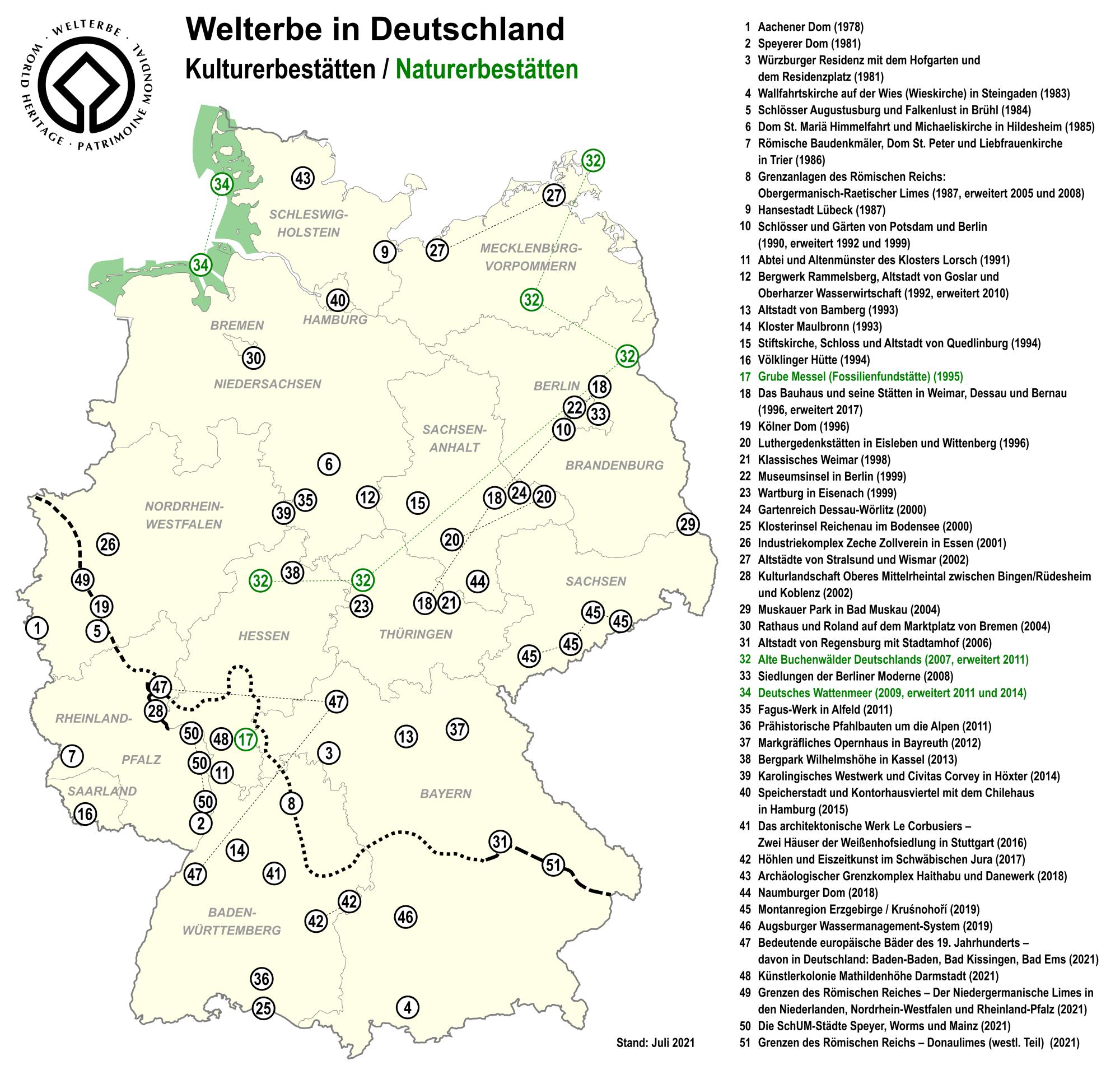 Die Welterbestätten in Deutschland sind bedeutende Besuchsziele.