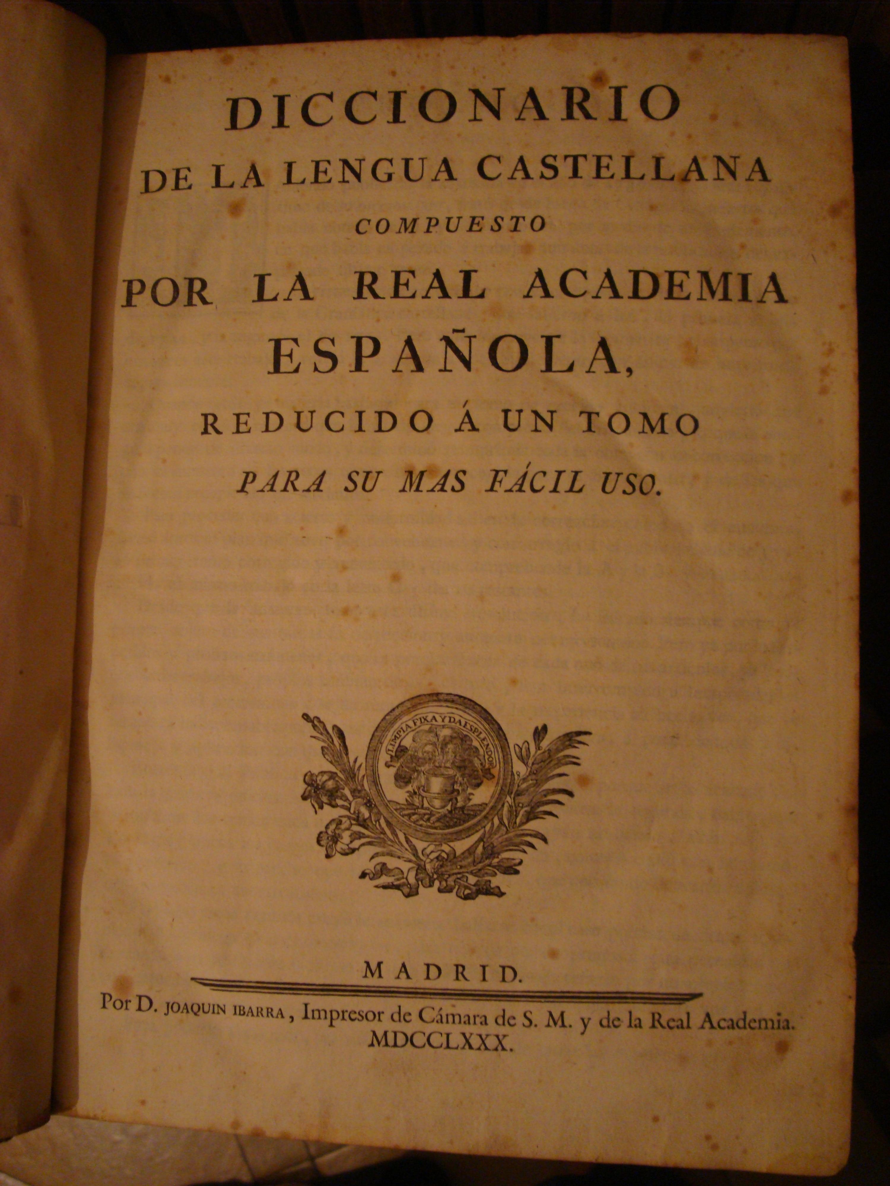 diccionario de la lengua de la real academia espanola:
