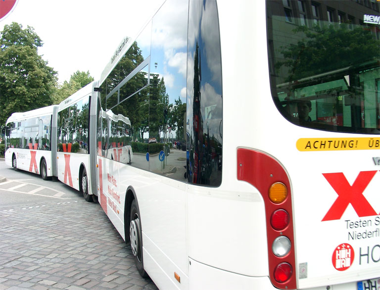 Double articulated bus in Hamburg, Germany.