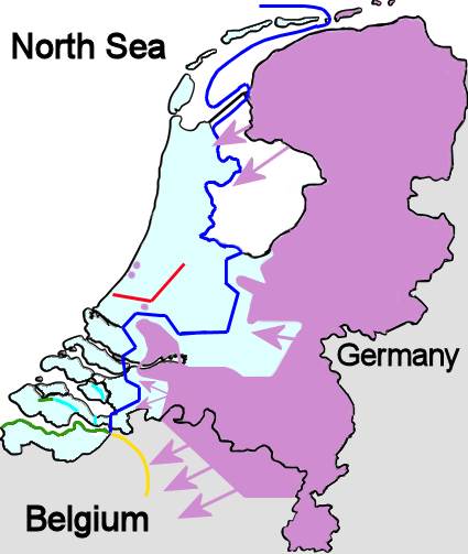 Dutch situation just before the Rotterdam Blitz. Legend: Location of the Dutch defence lines and area within Dutch troops are present Heavy Dutch defence line against armoured vehicles Dutch defences in Zeeland Belgian defence line French defences in the Netherlands Position of German troops as well as areas under German control Duitse inval.png