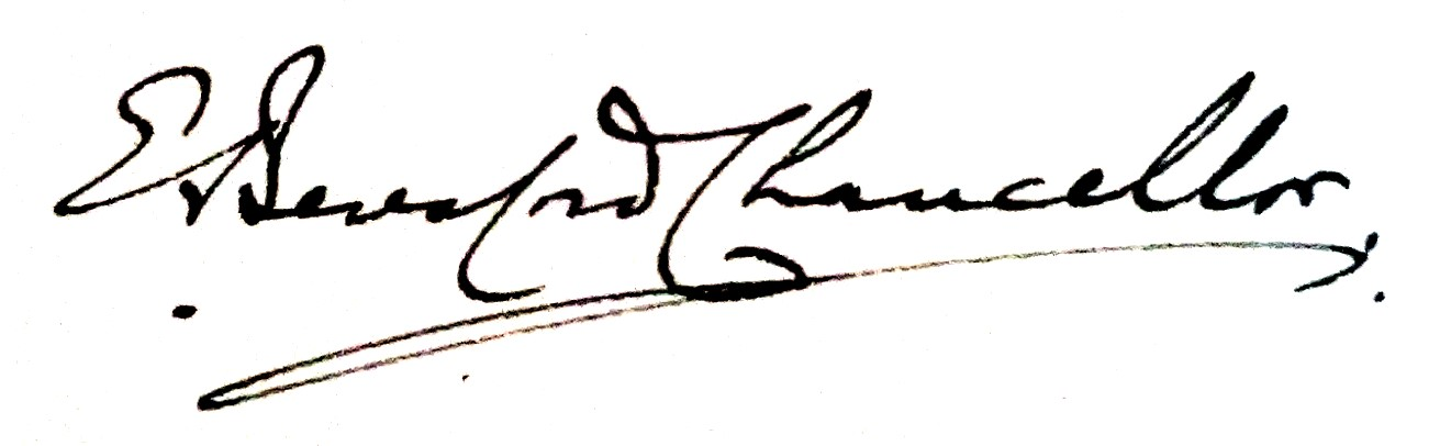 E. Beresford Chancellor's signature from ''The Lives of the Rakes'', 1924.