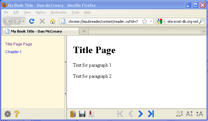Sceen Image of ePub in FireFox